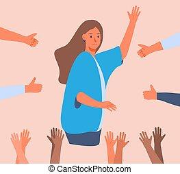 debout, haut., femme, entouré, jeune, pouces, mains, heureux, elle