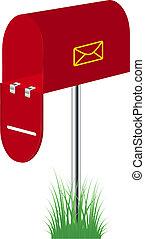 debout, herbe, rouges, boîte lettres