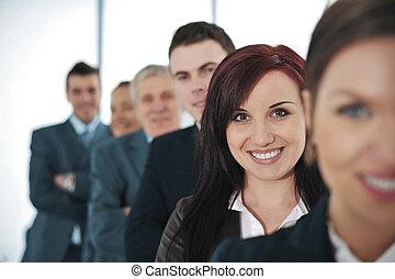 debout, heureux, business, ensemble, gens