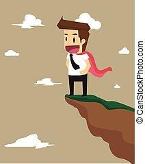debout, high-level, business, sommet, colline, talents, homme