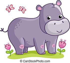 debout, hippopotame, flowers., pré