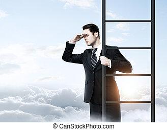 debout, homme affaires, échelle