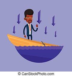 debout, homme affaires, boat., naufrage