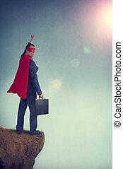 debout, homme affaires, bord, superhero, falaise