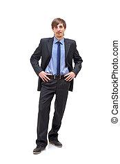 debout, homme affaires, confortablement, jeune, portrait