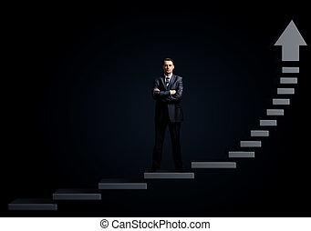 debout, homme affaires, escalier