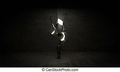 debout, homme affaires, mur, ampoule