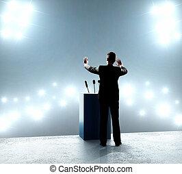 debout, homme affaires, podium