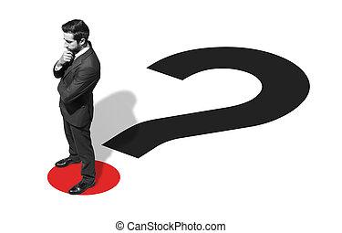 debout, homme affaires, question, constitué, marque