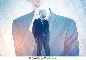 debout, homme affaires, résumé, fond