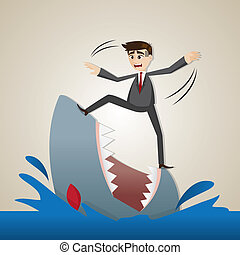 debout, homme affaires, requin, dessin animé