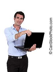 debout, homme affaires, sien, laptop.