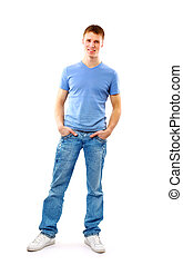 debout, homme, jeune, poches, mains