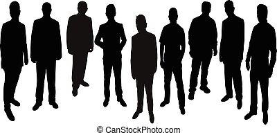 debout, hommes, silhouette