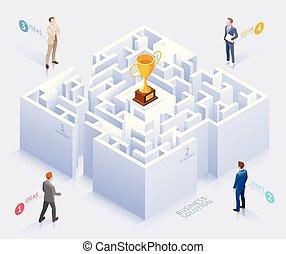 debout, illustration., business, labyrinthe, solution, vecteur, conceptuel, homme affaires, design.