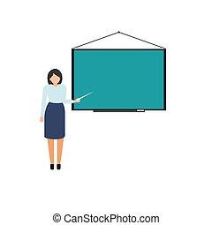 debout, illustration., image, vecteur, prof, board.