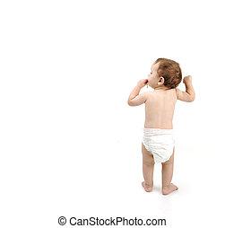 debout, image, garçon, sur, couche, bébé, blanc