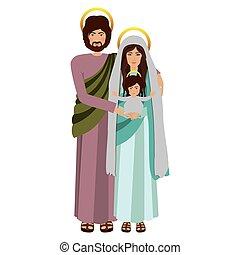 debout, image, sacré, famille