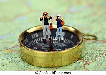 debout, images, prendre, miniature, quoique, compas, touristes