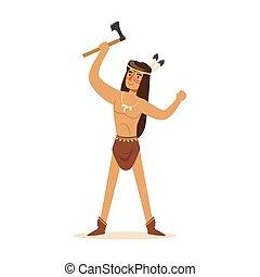 debout, indien, tomahawk, illustration, américain, vecteur, ...