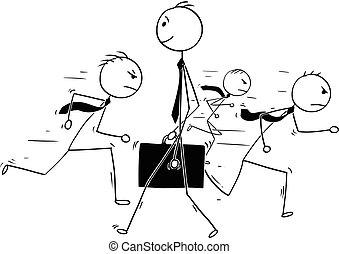 debout, individualité, foule, conceptuel, homme affaires, dessin animé, dehors