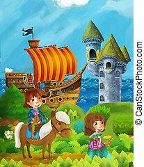 debout, indulgence, -, scène, prince, pirate, forêt, dessin animé, château, mer, princesse, enfants, sentier, caché, bateau, illustration, rivage, tour
