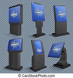 debout, information, ensemble, ecran informatique moniteur, kiosques, lcd, vecteur, terminaux, toucher