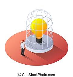 debout, isométrique, lumière, incandescent, homme affaires, ampoule, cage, 3d