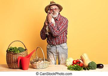 debout, jardinier, légumes, compteur, derrière, poser, personne agee, mains, poule