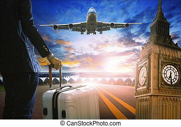 debout, jet passager, business, bagage, p, aéroport, homme