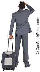 debout, jeune, valise, homme affaires