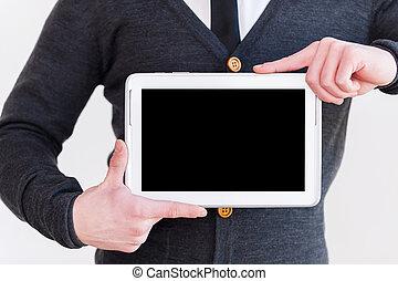 debout, joindre, tenue, tablette, age!, image, gris, tondu, quoique, contre, fond, numérique, formalwear, homme