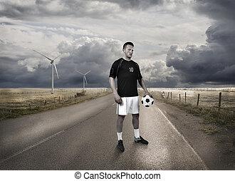 debout, joueur, football, route