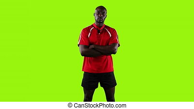 debout, joueur rugby, armes traversés, professionnel, 4k