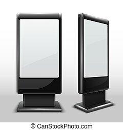 debout, kiosk., extérieur, mockup, écran tv, numérique, isolé, vecteur, vide, toucher, interactif