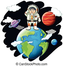 debout, la terre, astronaunt