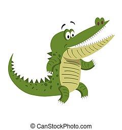 debout, large, crocodile, ouverture bouche, dessin animé