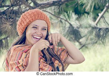 debout, laughting, orangehead, extérieur, jeune, automne, chaud, girl, robe