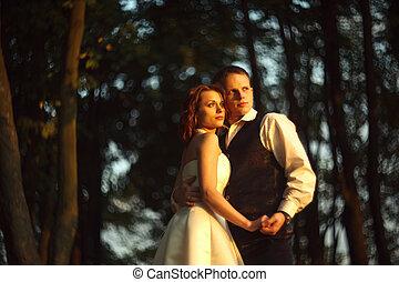 debout, leur, soleil, couple, mariage, -, ensemble, brouillé, lumières, clair, mains, prise