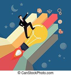 debout, lightbulb, barre, fusée, diagramme, flèche, homme affaires