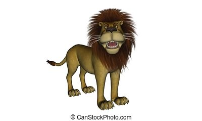 debout, lion, dessin animé, roaring.