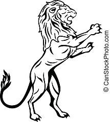debout, lion