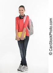 debout, livre, adolescent, schoolgirl., isolé, sac, quoique, appareil photo, tenue, écolière, blanc, sourire heureux
