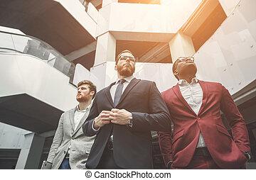 debout, lobby., bureau affaires, équipe, professionnel, ...