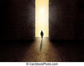 debout, lumière, homme, devant