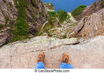 debout, lysefjord, -, fjord, falaise, norvège, preikestolen, homme