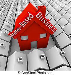 debout, maisons, voisinage, business, indépendant, maison, compagnie, basé, entrepreneur, personne, grand, mots, nouveau, petit, maison, dehors, commencer, ou, rouges, illustrer