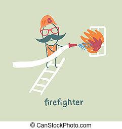 debout, met, brûler, pompier, fenêtre, escalier, dehors