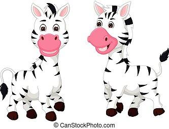 debout, mignon, couple, zebra, sourire, dessin animé