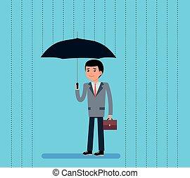 debout, mignon, flat-style, parapluie, illustration., vecteur, rain., sous, homme affaires, dessin animé